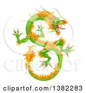 Clipart Of A Green And Orange Chinese Dragon Flying Royalty Free Vector Illustration