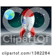 Clipart Of A Rocket Ship On The Moon With Earth In The Distance Royalty Free Vector Illustration