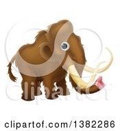 Clipart Of A Cute Brown Baby Woolly Mammoth Royalty Free Vector Illustration