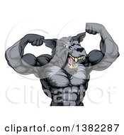 Clipart Of A Tough Muscular Gray Wolf Man Mascot Flexing His Muscles From The Waist Up Royalty Free Vector Illustration