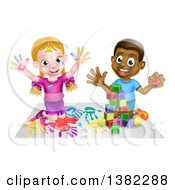 Clipart Of A Cartoon Happy White Girl Sitting On Paper And And Painting And A Black Boy Playing With Blocks Royalty Free Vector Illustration by AtStockIllustration