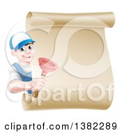 Clipart Of A Young Brunette White Male Plumber Wearing A Baseball Cap Holding A Plunger Around A Scroll Sign Royalty Free Vector Illustration