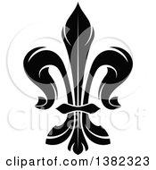 Clipart Of A Black And White Fleur De Lis Royalty Free Vector Illustration