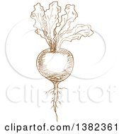 Clipart Of A Brown Sketched Beet Royalty Free Vector Illustration by Vector Tradition SM