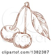 Clipart Of Brown Sketched Cherries Royalty Free Vector Illustration by Vector Tradition SM