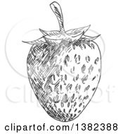 Clipart Of A Black And White Sketched Strawberry Royalty Free Vector Illustration by Vector Tradition SM