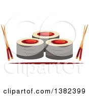 Clipart Of Sushi Rolls With Chopsticks Royalty Free Vector Illustration