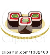 Clipart Of Sushi Rolls Royalty Free Vector Illustration