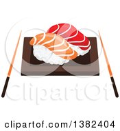 Clipart Of A Plate Of Sushi Nigiri With Chopsticks Royalty Free Vector Illustration by Vector Tradition SM