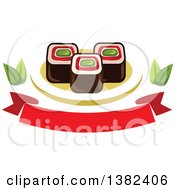 Clipart Of Sushi Rolls With Leaves And A Blank Banner Royalty Free Vector Illustration by Vector Tradition SM