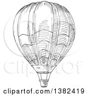 Clipart Of A Gray Sketched Hot Air Balloon Royalty Free Vector Illustration