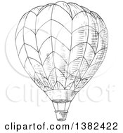 Clipart Of A Gray Sketched Hot Air Balloon Royalty Free Vector Illustration by Vector Tradition SM