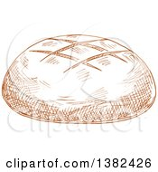 Clipart Of A Brown Sketched Bread Boule Royalty Free Vector Illustration