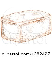 Clipart Of A Brown Sketched Loaf Of Bread Royalty Free Vector Illustration