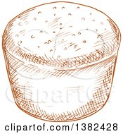 Clipart Of A Brown Sketched Muffin Royalty Free Vector Illustration