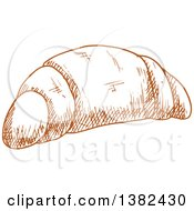 Clipart Of A Brown Sketched Croissant Royalty Free Vector Illustration by Vector Tradition SM