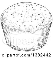Clipart Of A Gray Sketched Muffin Royalty Free Vector Illustration