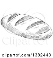 Clipart Of A Gray Sketched French Bread Royalty Free Vector Illustration