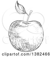 Clipart Of A Gray Sketched Apple Royalty Free Vector Illustration