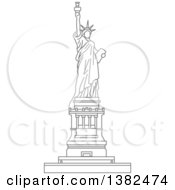 Clipart Of A Gray Sketched Statue Of Liberty Royalty Free Vector Illustration