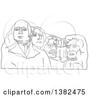 Clipart Of A Gray Sketch Of Mount Rushmore Royalty Free Vector Illustration