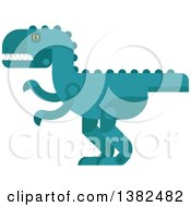 Clipart Of A Robotic Styled Teal Tyrannosaurus Rex Dinosaur Royalty Free Vector Illustration