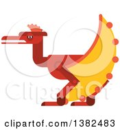 Clipart Of A Robotic Styled Red Pterodactyl Dinosaur Royalty Free Vector Illustration