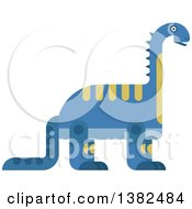 Clipart Of A Robotic Styled Blue Brontosaurus Dinosaur Royalty Free Vector Illustration by Vector Tradition SM