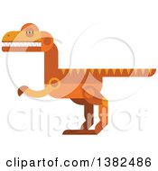 Clipart Of A Robotic Styled Orange Velociraptor Dinosaur Royalty Free Vector Illustration by Vector Tradition SM