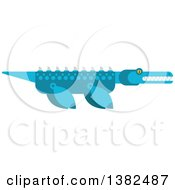 Clipart Of A Robotic Styled Blue Pliosaur Dinosaur Royalty Free Vector Illustration by Vector Tradition SM