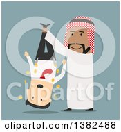 Clipart Of A Flat Design Arabian Business Man Shaking Out A Caucasian Man On Blue Royalty Free Vector Illustration by Vector Tradition SM