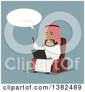 Clipart Of A Flat Design Arabian Business Man Using A Smart Phone And Laptop On Blue Royalty Free Vector Illustration by Vector Tradition SM