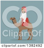 Clipart Of A Flat Design Arabian Man Riding A Camel On Blue Royalty Free Vector Illustration