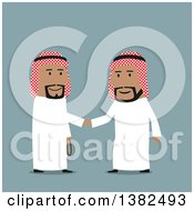Clipart Of Flat Design Team Arabian Business Men Shaking Hands On Blue Royalty Free Vector Illustration by Vector Tradition SM