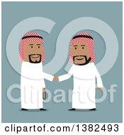 Poster, Art Print Of Flat Design Team Arabian Business Men Shaking Hands On Blue
