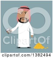 Clipart Of A Flat Design Arabian Business Man Holding A Calculator By A Pile Of Coins On Blue Royalty Free Vector Illustration