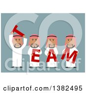 Clipart Of A Flat Design Group Of Arabian Business Men Holding TEAM Letters On Blue Royalty Free Vector Illustration by Vector Tradition SM