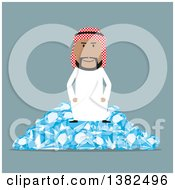 Clipart Of A Flat Design Arabian Business Man Sitting On A Pile Of Diamonds On Blue Royalty Free Vector Illustration