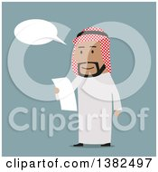 Clipart Of A Flat Design Arabian Business Man Reading A Contract On Blue Royalty Free Vector Illustration by Vector Tradition SM