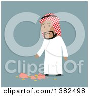 Clipart Of A Flat Design Arabian Business Man With A Broken Piggy Bank On Blue Royalty Free Vector Illustration
