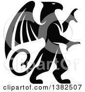 Clipart Of A Black And White Rampant Griffin Royalty Free Vector Illustration