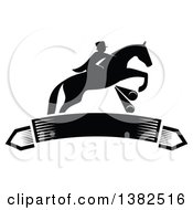 Clipart Of A Black Silhouetted Rider On A Leaping Horse Above A Blank Banner Royalty Free Vector Illustration