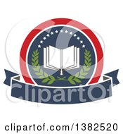 Clipart Of A Book With Open Pages In A Circle With A Wreath Stars And Blank Banner Royalty Free Vector Illustration