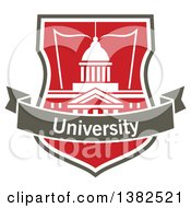 Clipart Of A University Shield With A Building Open Book And Text Banner Royalty Free Vector Illustration by Vector Tradition SM