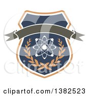 Clipart Of A Shield With An Atom Wreath And Blank Banner Royalty Free Vector Illustration by Vector Tradition SM