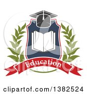Clipart Of A Book With Open Pages In A Shield With A Wreath Graduation Mortar Board Hat And Education Banner Royalty Free Vector Illustration