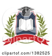 Book With Open Pages In A Shield With A Wreath Graduation Mortar Board Hat And Blank Banner