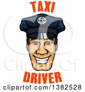 Clipart Of A Cartoon Male Caucasian Cabbie Taxi Driver Face With Text Royalty Free Vector Illustration by Vector Tradition SM