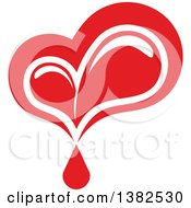 Clipart Of A Dripping Red Blood Drop Heart Royalty Free Vector Illustration