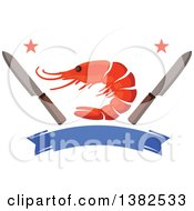 Clipart Of A Shrimp With Knives Stars And A Blank Blue Banner Royalty Free Vector Illustration by Vector Tradition SM